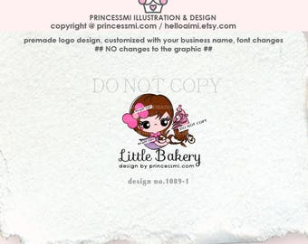 1089-1  bakery Logo, girl Chef logo, homemade cupcake logo, cupcake logo, home bakery logo, small bakery business watermark design