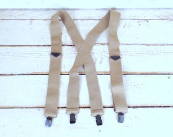 Wide tan stretch clip suspenders/tan braces/light brown vintage suspenders