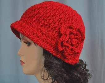 Red Cloche Hat with Flower - Hand Crocheted - Soft Acrylic Yarn - Handmade - Size Medium - Beautiful Gift - Ready to Ship - Great Chemo Cap