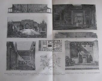 Vintage Illustrations of Pompeii & Herculaneum Original Antique Print from 1900 Cyclopedia International