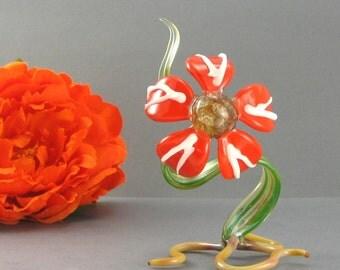 Tangerine Tango Glass Flower Sculpture - Lampwork Botanical Nature Decor - Garden Glass