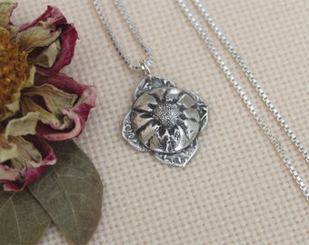 Sterling Silver Mehndi Flower Necklace