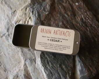 CEDAR Solid Perfume / Animated Ancient Cedars / Rooty + Peppery + Aromatic + Mossy + Tars 'n Teas + Spicy currants + Curious Fruits / .25 oz