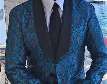 Man's Dinner Jacket in Silk Brocade, Black Satin Shawl Collar
