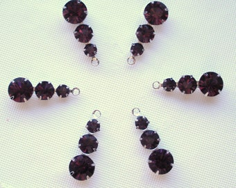 NEW BEAUTIFUL Swarovski Crystal 3 Stone Components in Amethyst (6)