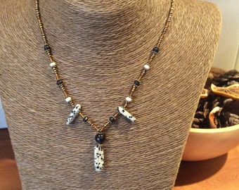 Dalmation Jasper Tribal Boho Beaded Necklace