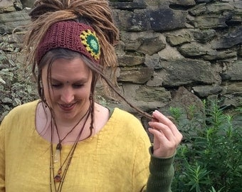 Crochet Sunflower Dreadband, Headband, Dread Wrap, Hair band