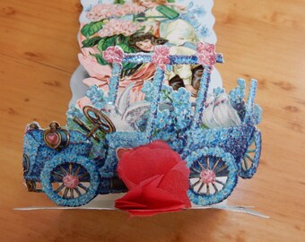 1912 German Folding Stand Up Tissue Paper Valentines Day Card w/ Child & Automobile Car