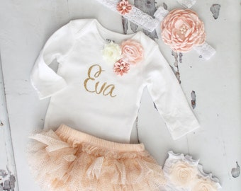 Personalized Baby Girl Summer Outfit Set. Sisters Matching Peach, Gold. Floral Bodysuit Tutu Diaper Cover Leggings & Bow. Birthday, Wedding