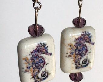 Seahorse and pearl earrings