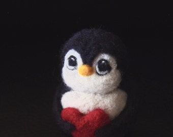 Love Penguin - Needle Felted Penguin with Red Heart - Be My Valentine