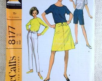 Vintage pattern McCall's 8177 1960s shorts pants skirt Bust 32 Raglan tee shirt blouse