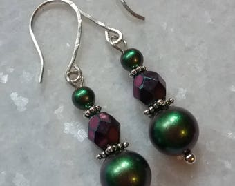 Iridescent Scarabaeus Green and Fire Polished Purple Glass // Swarovski Pearl and Sterling Earrings // Crystal Pearls