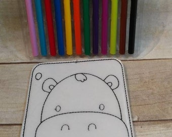 Hippo Head Reusable Coloring Page, Felt Coloring Page, Vinyl Coloring Pages, Children's Coloring Pages, Birthday Gift, Holiday Gift