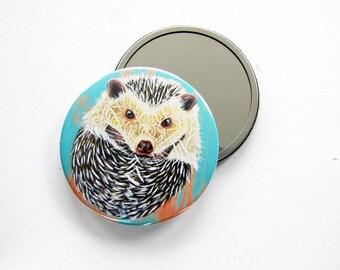 Hedgehog Art Pocket Mirror 3 inch- Hedgehog Hand Mirror,  Compact Mirror