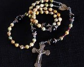 Man's Catholic Rosary - Bronze replica crucifix and center in solid Bronze. Free Rosary Pouch.