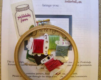 Kit it. Make any cross stitch Pattern a Kit including hoop, needle, floss, fabric. Add to pattern order.