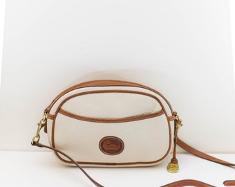 Dooney and Bourke satchel bag - cream and brown leather purse