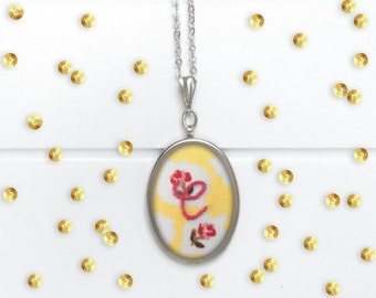 Embroidered Initial Necklace // Yellow Rose Design Embroidered Initial Pendant with an 18 Inch Chain
