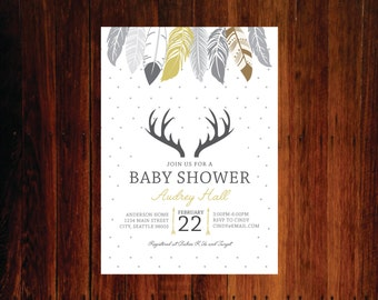 Feathers and Antlers Invitation, Pow wow, Boho baby shower invitation - set of 15