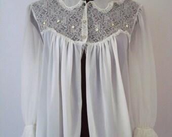Vintage 50's 60's Bed Jacket Robe White Nylon Chiffon Lace Size Medium Bridal