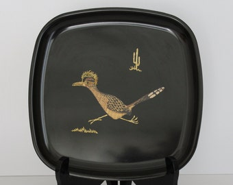 Vintage Couroc of Monterey California Roadrunner Square Tray/Plate