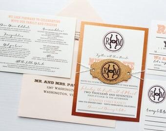 Western Rustic Cork Tag Wedding Invitation -  SAMPLE