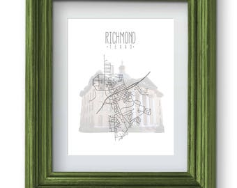Richmond Texas Map and Courthouse Print {Digital}