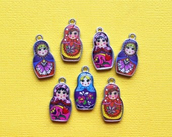 5 Russian Doll Enamel Charms Two Sided Beautiful Bright and Fun E065