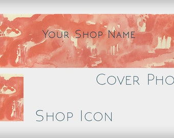 Make Your Own Etsy Banner - Blank Etsy Shop Banner Design - Red Abstract Watercolor Shop Banner Without Text