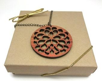Bloodwood Flower Necklace, Laser Cut Necklace, Gunmetal Chain