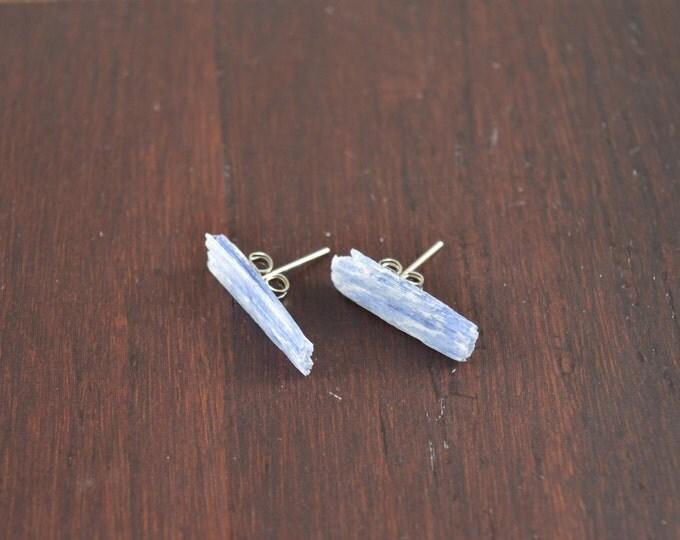 Kyanite Raw Crystal Stud Earrings, Kyanite Earrings, Sterling Silver Kyanite Studs, Simple Stone Studs, Kyanite Earrings, Blue Gemstones