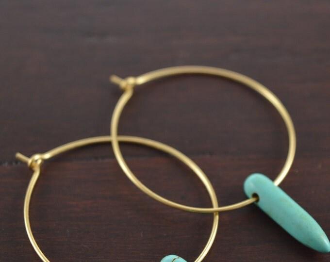 Turquoise Magnesite Spike Hoop Earrings