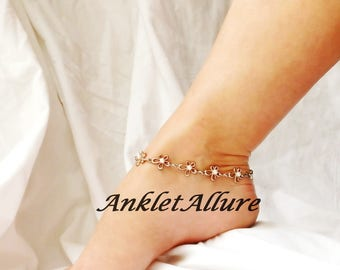 Flower Anklet Beach Ankle Bracelet Rose Gold Anklet  Beach Body Jewelry Resort Foot Jewelry