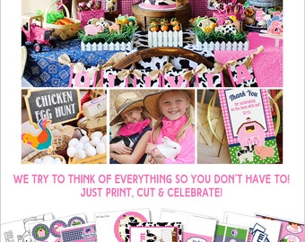 Farm Birthday Party |  Girl Farm Party Decorations Printable | Baby's Barnyard Birthday | 1st Birthday | Farm Girl | Amanda's Parties To Go