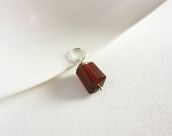 Sterling Silver Pendant - 14k Gold Pendant - Dark Red Garnet Pendant - Pyrope Garnet Jewelry - Gemstone Charms - January Birthstone Charms