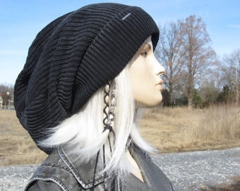 Post Apocalyptic Clothing Oversized Slouch Tam Hat Black/Charcoal Gray Distressed Acid Washed Thick Bulky Chunky Big Baggy Beanie A1894