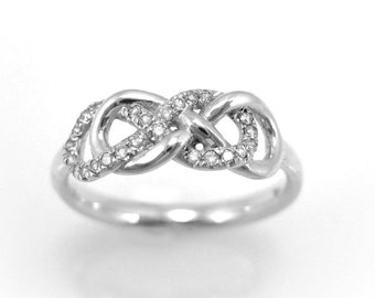 Double Knot Diamond Engagement Ring, Diamond Knot Infinity Ring, Diamond Infinity Ring, Double Infinity Ring, Diamond Knot Ring, Infiniti