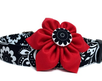 Dog Collar & Flower, Black White Dog Collar, Paisley Dog Collar, Red Flower Collar, Girl Dog Collar, Red Black Dog Collar, Collar with bow
