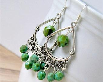 silver chandelier earrings, boho chic, bohemian, czech glass earrings, moss green, gypsy