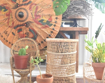 woven bamboo rattan wood wicker basket / plant stand