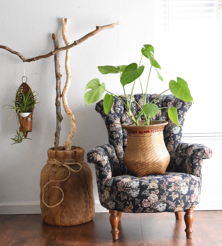 Large Vintage Woven Banana Leaf Basket Planter Boho