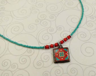 Original Brick Red & Turquoise Tile, Beaded Catalina, Mexican and Mediterranean Tile Inspired Necklace