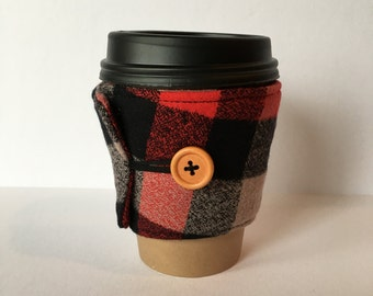 Coffee Cozy- Plaid Cotton Flannel Coffee Cup Sleeve- Red, Black and Tan Lumber Jack Buffalo Check Plaid Reusable Coffee Sleeve