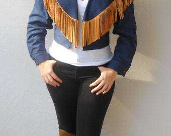 Vintage 1980s HAIRSTON ROBERSON denim & leather cropped fringe jacket, size Small