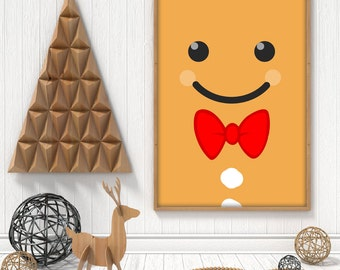 Christmas GingerbreadMan printable poster. Gingerbread Man face winter decor, A4, A3, 8x10 and 11x14 pdf, instant download