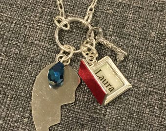 Laura's Secret Diary Necklace w/ Silver Broken Heart, inspired by Twin Peaks.