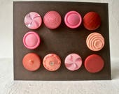 10 Vintage Shades of Rose Buttons in Assorted Patterns for Sewing and Crafts