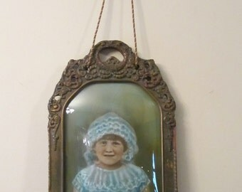 Antique Child's Portrait - Ornate Curved Glass Gesso Frame with Unusual Twine Holder - Hand Tinted Picture of Girl in Blue Dress and Bonnet