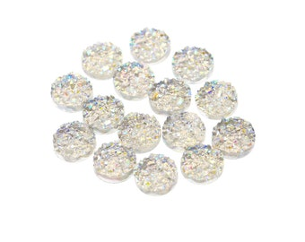 Iridescent Rainbow Clear 12mm Faux Druzy Crystal Clusters Cabochons Chunky Nuggets Sfa0209